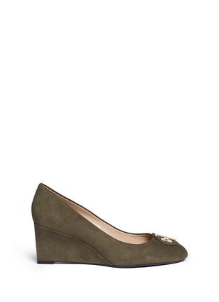 Main View - Click To Enlarge - Tory Burch - 'Luna' metal logo suede wedge pumps