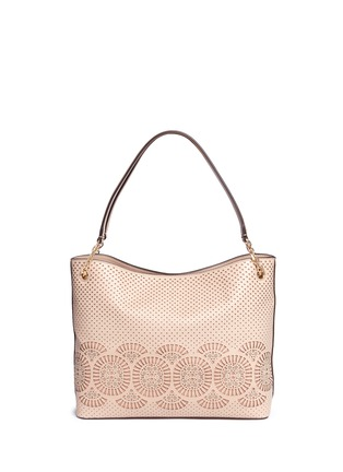 Back View - Click To Enlarge - Tory Burch - 'Zoey' floral perforated leather tote