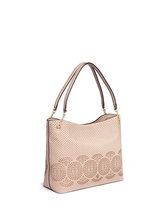Front View - Click To Enlarge - Tory Burch - 'Zoey' floral perforated leather tote