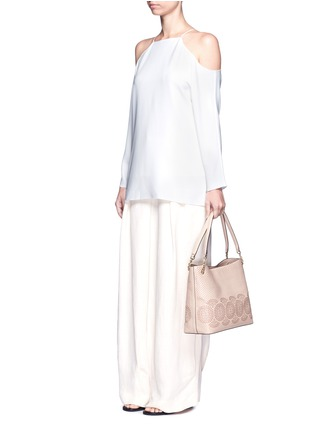 Figure View - Click To Enlarge - Tory Burch - 'Zoey' floral perforated leather tote