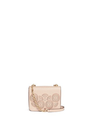 Main View - Click To Enlarge - TORY BURCH - 'Zoey' floral perforated leather chain shoulder bag
