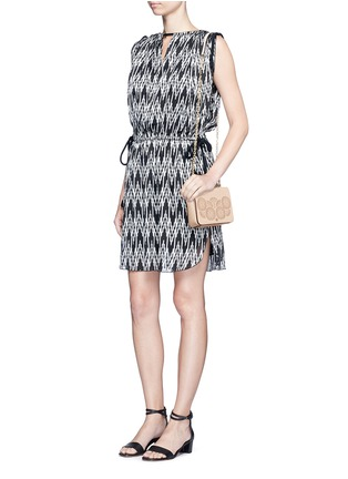 Figure View - Click To Enlarge - TORY BURCH - 'Zoey' floral perforated leather chain shoulder bag