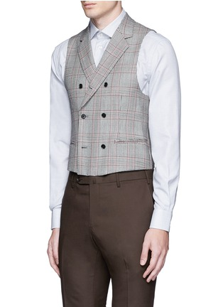 Front View - Click To Enlarge - Tomorrowland - Dormeuil Sportex Vintage® wool houndstooth double breasted vest