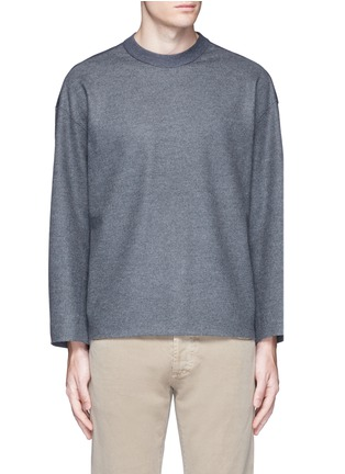 Main View - Click To Enlarge - Tomorrowland - Ribbed shoulder wool felt sweater