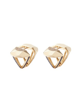 Main View - Click To Enlarge - Lama Hourani Jewelry  - 'Evolution of Rock' diamond faceted 18k yellow gold earrings
