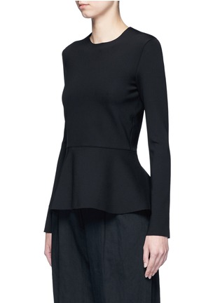 Front View - Click To Enlarge - The Row - 'Mel' scuba jersey peplum long sleeve top