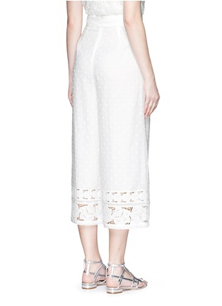 Back View - Click To Enlarge - Zimmermann - 'Realm' dot floral embroidered cotton cropped pants