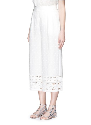 Front View - Click To Enlarge - Zimmermann - 'Realm' dot floral embroidered cotton cropped pants