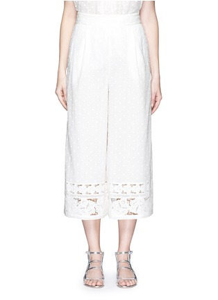 Main View - Click To Enlarge - Zimmermann - 'Realm' dot floral embroidered cotton cropped pants