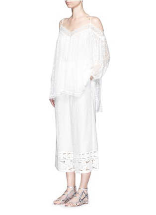 Figure View - Click To Enlarge - Zimmermann - 'Realm' dot floral embroidered cotton cropped pants