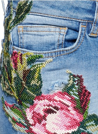 Detail View - Click To Enlarge - Dolce & Gabbana - Sequin embroidery skinny jeans