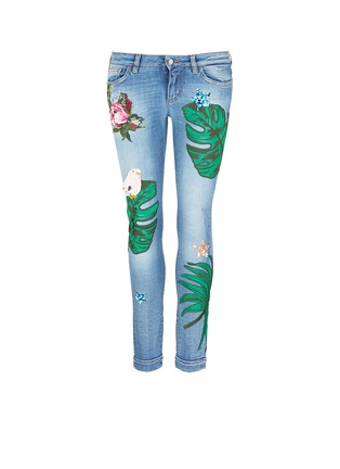 Main View - Click To Enlarge - Dolce & Gabbana - Sequin embroidery skinny jeans