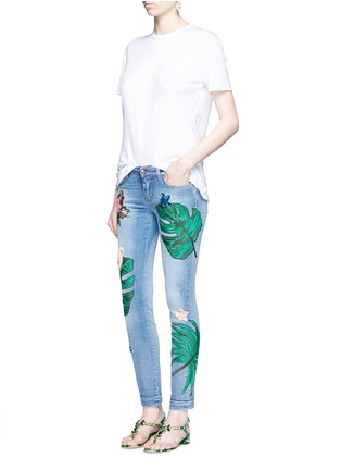 Figure View - Click To Enlarge - Dolce & Gabbana - Sequin embroidery skinny jeans