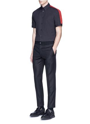 Figure View - Click To Enlarge - ALEXANDER MCQUEEN - 'Brad Pitt' grosgrain stripe stud cotton shirt