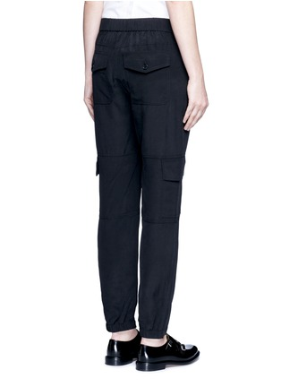 Back View - Click To Enlarge - THEORY - 'Hamtana' elastic waist silk habotai cargo pants