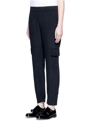Front View - Click To Enlarge - THEORY - 'Hamtana' elastic waist silk habotai cargo pants