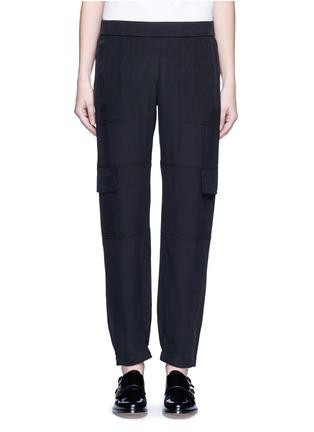 Main View - Click To Enlarge - THEORY - 'Hamtana' elastic waist silk habotai cargo pants