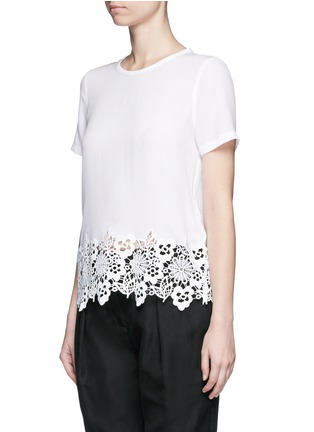 Front View - Click To Enlarge - Equipment - 'Riley' floral lace hem silk T-shirt