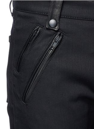 Detail View - Click To Enlarge - Alexander McQueen - Leather pocket denim pants