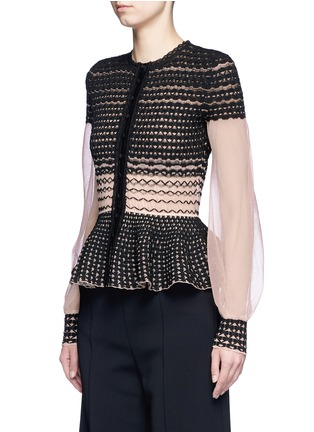 Front View - Click To Enlarge - Alexander McQueen - Macramé stitch tulle peplum cardigan