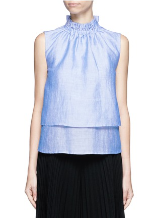 Main View - Click To Enlarge - Co - Ruffle neck layered chambray sleeveless top