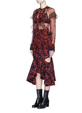 Front View - Click To Enlarge - Givenchy - Ruffle floral print silk chiffon blouse