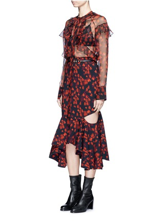 Figure View - Click To Enlarge - Givenchy - Ruffle floral print silk chiffon blouse