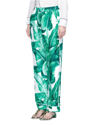 Front View - Click To Enlarge - Dolce & Gabbana - Banana leaf print silk pyjama pants