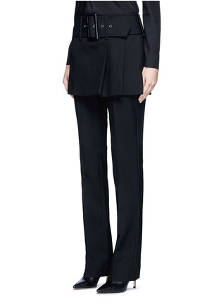 Front View - Click To Enlarge - Givenchy - Belted apron front twill skirt