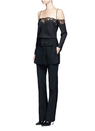 Figure View - Click To Enlarge - Givenchy - Belted apron front twill skirt