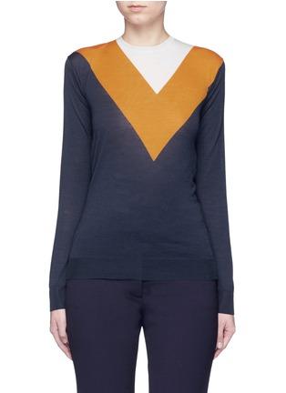 Main View - Click To Enlarge - Stella McCartney - Football stripe virgin wool-silk sweater