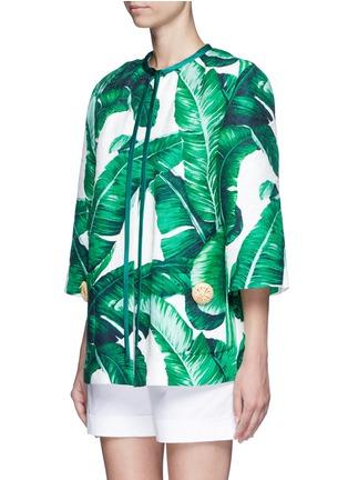 Front View - Click To Enlarge - - - Banana leaf print brocade jacket
