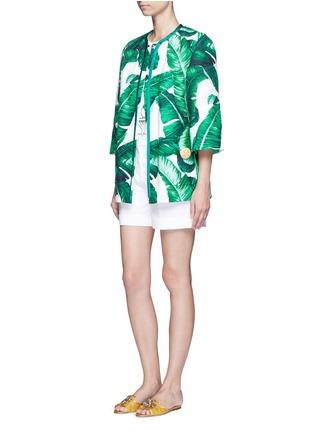 Figure View - Click To Enlarge - - - Banana leaf print brocade jacket