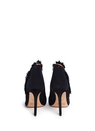 Back View - Click To Enlarge - MAISON MARGIELA SHOES - Asymmetric fringe suede booties