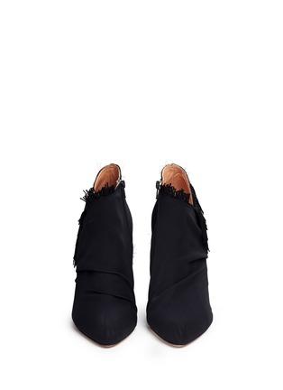 Front View - Click To Enlarge - MAISON MARGIELA SHOES - Asymmetric fringe suede booties