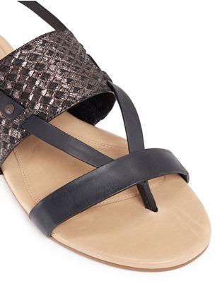 Detail View - Click To Enlarge - UGG - 'Verona' metallic basket embossed leather sandals
