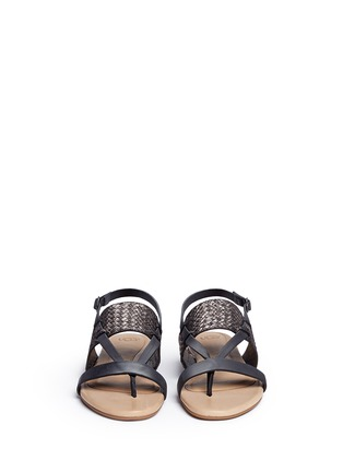 Front View - Click To Enlarge - UGG - 'Verona' metallic basket embossed leather sandals