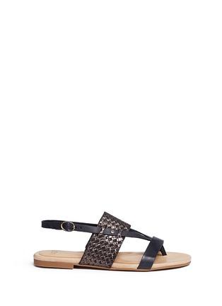 Main View - Click To Enlarge - UGG - 'Verona' metallic basket embossed leather sandals