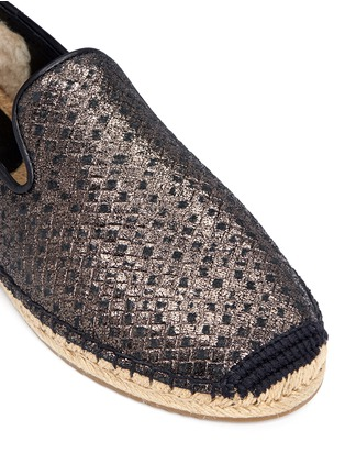 Detail View - Click To Enlarge - UGG - 'Sandrinne' metallic basketweave leather espadrille slip-ons