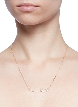 Detail View - Click To Enlarge - Phyne By Paige Novick - 'Unstable' diamond pavé pearl 18k gold pendant necklace