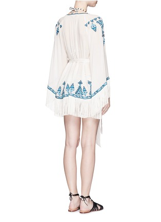 Back View - Click To Enlarge - Talitha - 'Moroccan Kumari' embroidery silk crepe wrap cover-up