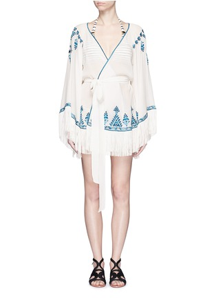 Main View - Click To Enlarge - Talitha - 'Moroccan Kumari' embroidery silk crepe wrap cover-up