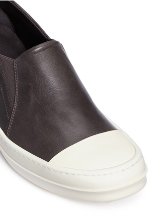 Detail View - Click To Enlarge - Rick Owens - Colourblock leather slip-on boat sneakers