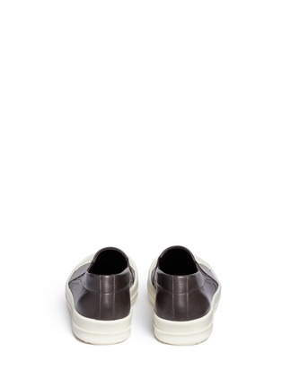 Back View - Click To Enlarge - Rick Owens - Colourblock leather slip-on boat sneakers