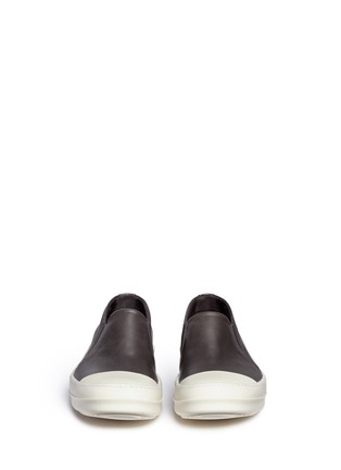 Front View - Click To Enlarge - Rick Owens - Colourblock leather slip-on boat sneakers
