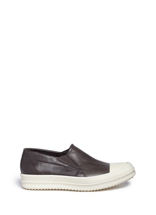 Main View - Click To Enlarge - Rick Owens - Colourblock leather slip-on boat sneakers