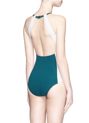 Back View - Click To Enlarge - Flagpole Swim - 'Nola' open back colourblock halterneck swimsuit