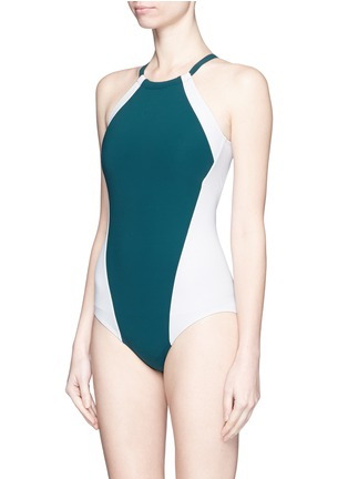 Figure View - Click To Enlarge - Flagpole Swim - 'Nola' open back colourblock halterneck swimsuit
