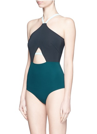 Figure View - Click To Enlarge - Flagpole Swim - 'Warren' cutout colourblock halterneck swimsuit