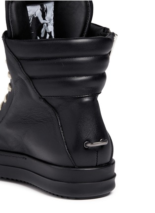 Detail View - Click To Enlarge - Rick Owens - 'Geobasket' leather high top sneakers